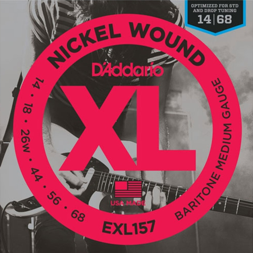 D'Addario XL157 Nickel Wound Baritone Electric Guitar Strings - Medium 14-68