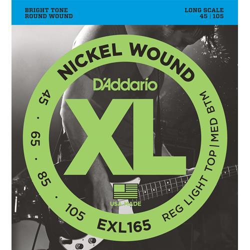 D'Addario EXL165 Nickel Wound Bass Guitar Strings - Custom Light 45-105, Long Scale