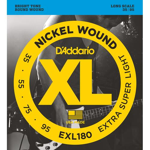 D'Addario EXL180 Nickel Wound Bass Guitar Strings - Extra Super Light 35-95, Long Scale