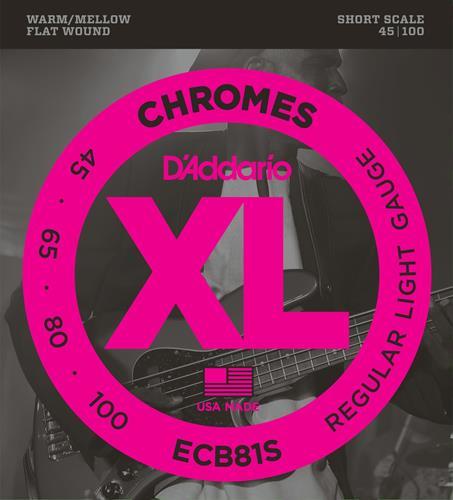 D'Addario ECB81S Flat Wound Chromes Bass Guitar Strings - Light 45-100, Short Scale