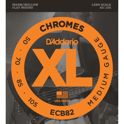 D'Addario ECB82 Flat Wound Chromes Bass Guitar Strings - Medium 50-105, Long Scale