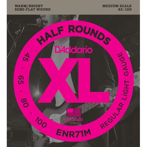D'Addario ENR71M Half Rounds Bass Guitar Strings - Regular Light 45-100, Medium Scale