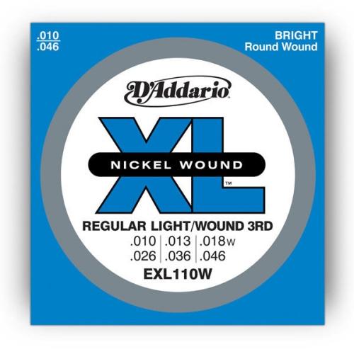Strings Electric D'Addario EXL-110W Nick R/Lt Wd 3rd 10-46