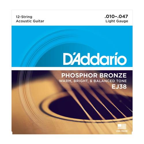 D'Addario EJ38 Phosphor Bronze 12-String Guitar Strings - Light 10-47