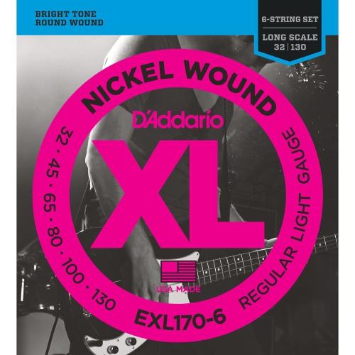 D'Addario EXL170-6 Nickel Wound 6-String Bass Guitar Strings - Light 32-130, Long Scale
