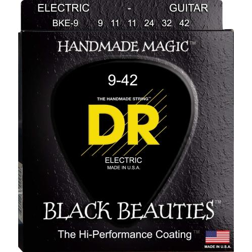 DR Strings BKE-9 Black K3 Coated Electric Strings - Lite, 9-42