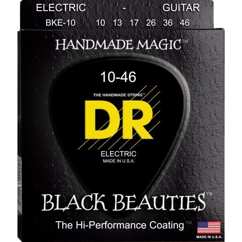 DR Strings BKE-10 Black K3 Coated Electric Strings - Medium, 10-46