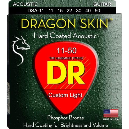 DR Strings DSA-11 DragonSkin Coated Acoustic Strings - Custom Lite, 11-50