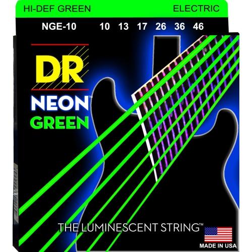 DR Strings NGE-10 NEON Hi-Def Green Coated Electric Strings - Medium, 10-46