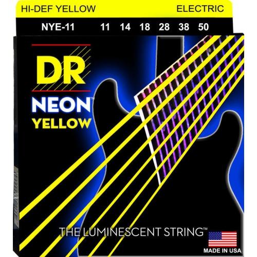 DR Strings NYE-11 NEON Hi-Def Yellow Coated Electric Strings - Heavy, 11-50