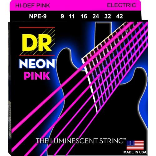 DR Strings NPE-9 NEON Hi-Def Pink Coated Electric Strings - Lite, 9-42
