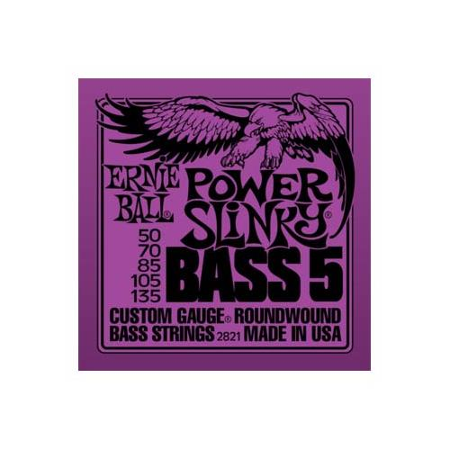 Ernie Ball PO2821 Power Slinky 5-String Nickel Wound Electric Bass Guitar Strings