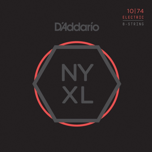 D'Addario NYXL1074 Nickel Wound 8 String Electric Guitar Strings - Light Top / Heavy Bottom - 10-74