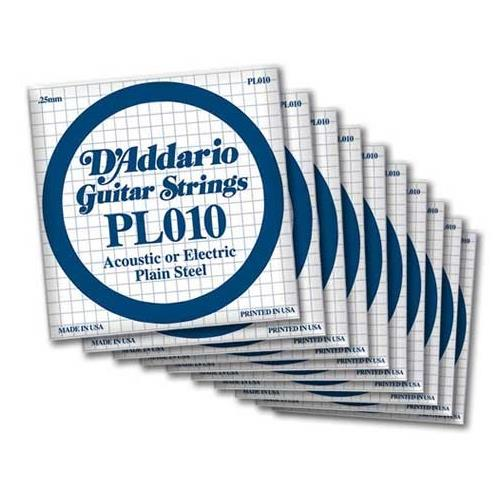 D'Addario PL009 Bulk Plain Steel Guitar Single String - .009 Gauge