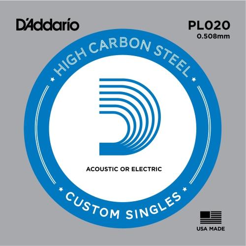 D'Addario PL020 Bulk Plain Steel Guitar Single String - .020 Gauge