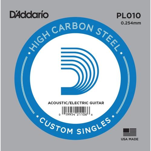 D'Addario PL010 Bulk Plain Steel Guitar Single String - .010 Gauge