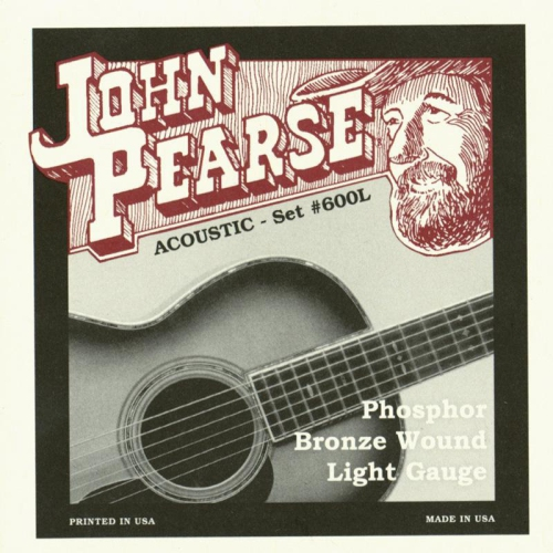John Pearse 600L Phosphor Bronze Acoustic Guitar Strings - Light 12-53