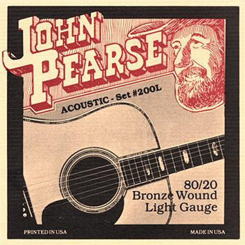 John Pearse 200L 80/20 Bronze Wound Acoustic Guitar Strings - Light 12-53
