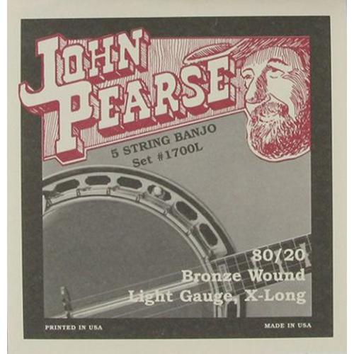 John Pearse 1700L 80/20 Bronze Wound 5-String Banjo Strings - Light 9-20