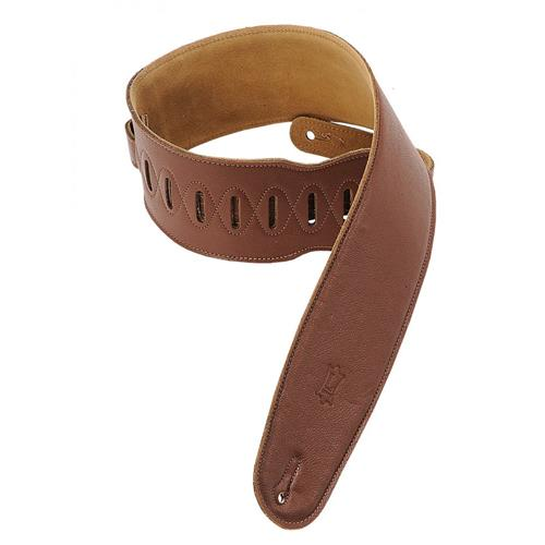 "Levy's M4GF 3 1/2"" Garment Leather Bass Strap with Foam Padding - Brown - XL"