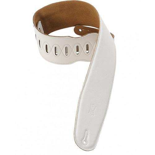 "Levy's M4GF 3 1/2"" Garment Leather Bass Strap with Foam Padding - White - XL"
