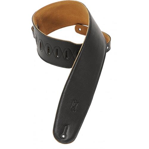 "Levy's M4GF 3 1/2"" Garment Leather Bass Strap with Foam Padding - Black - XL"