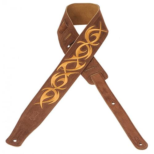 """Levy's MS26E-001 2 1/2"""" Suede Guitar Strap with Embroidered Design"""
