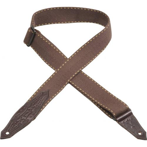 """Levy's MSSC80 2"""" Heavy Weight Cotton Guitar Strap with Contrasting Woven Border - Brown"""