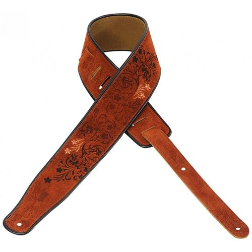 """Levy's MSS3EP-005 2 1/2"""" Suede Guitar Strap with Embroidered and Printed Design"""