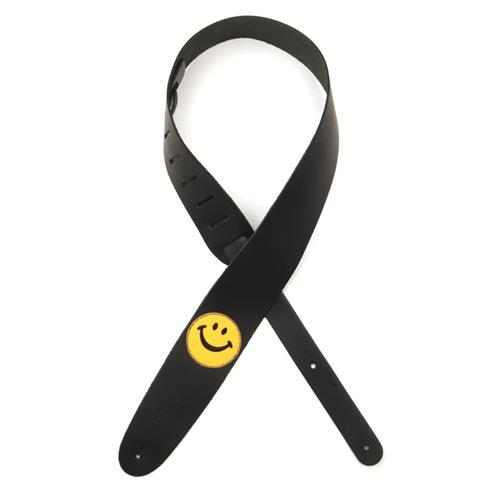 """Planet Waves 25PL02 2.5"""" Leather Guitar Strap with Smiley Face Patch"""