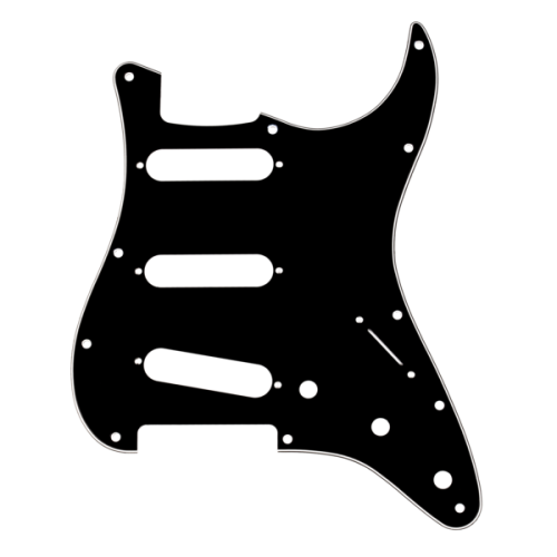 Fender 11-Hole Mount S/S/S Stratocaster Pickguard - 3-Ply, Black
