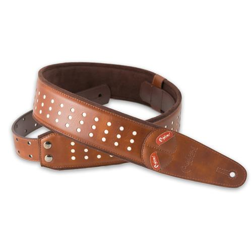 Right On! Mojo Guitar Strap - Holes Brown