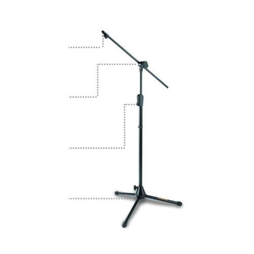 Hercules EZ Clutch Tripod Microphone Stand with 2-In-1 Hideaway Boom