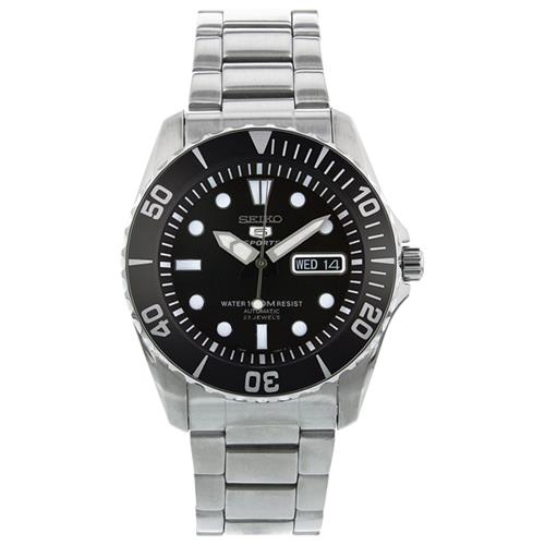 5189b1eb3fb0 Seiko 5 Automatic Black Dial Stainless Steel Mens Watch SNZF17 - Online Only