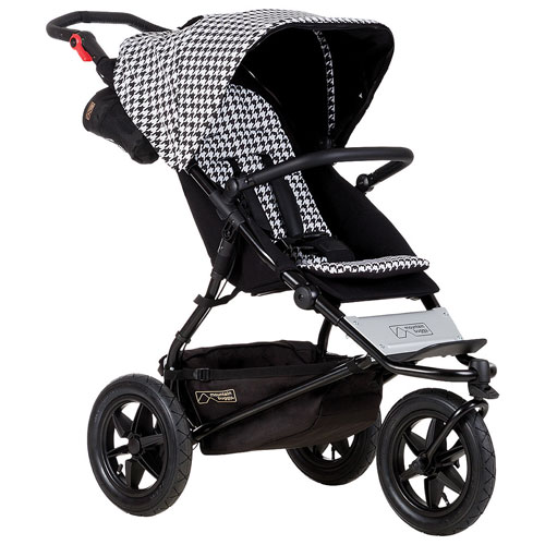 Mountain Buggy Urban Jungle Luxury Stroller with Satchel, Change Mat and Bag Clips - White/Black