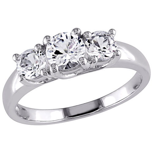 Bridal Engagement Ring in White Gold with Round-cut Created White Sapphire - Size 8