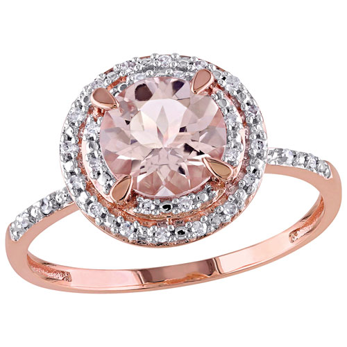 bridal halo ring in rose gold with pink round morganite 0 09ctw