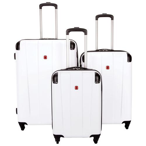 60682fa26 SWISSGEAR Protector 3-Piece Hard Side 4-Wheeled Expandable Luggage Set -  White | Best Buy Canada