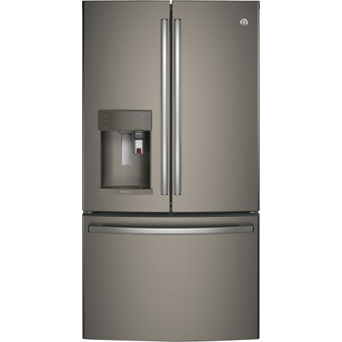 "GE 36"" 22.1 Cu.Ft. French Door Refrigerator with Built-In Keurig K-Cup Brewing System - Slate"