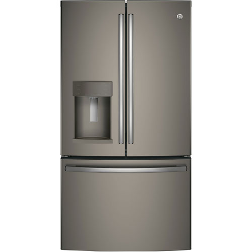 Réfrigérateur 2 portes 25,7 pi3 36 po distributeur d'eau et glaçons GE (GFE26GMKES) - Ardoise
