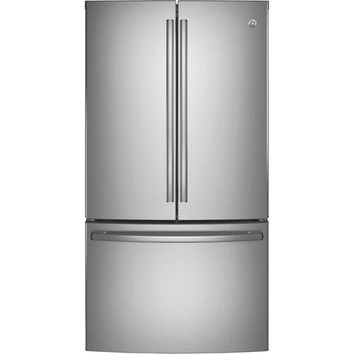Réfrigérateur à deux portes 28,5 pi3 36 po avec distributeur de glaçons et filtre à eau de GE - Inox