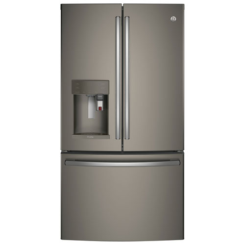 """GE 36"""" 27.7 Cu. Ft. French Door Refrigerator with K-Cup Brewing System (PFE28PMKES) - Slate"""