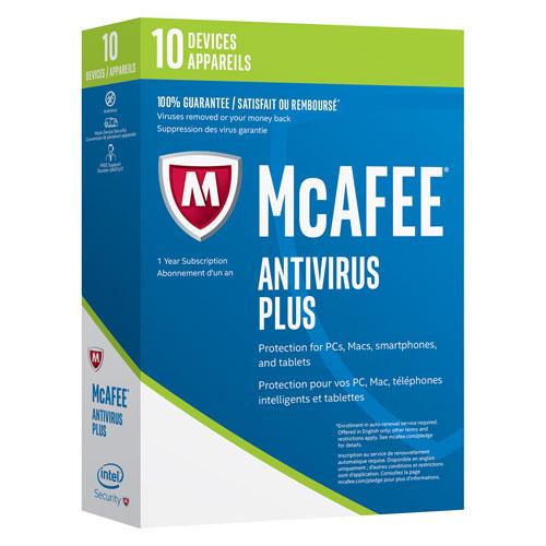 McAfee Antivirus Plus 2017 (PC/Android/Chrome/iOS) - 10 appareils - 1 an