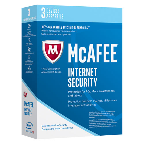 McAfee Internet Security 2017 (PC/Mac/Android/Chrome/iOS) - 3 appareils - 1 an