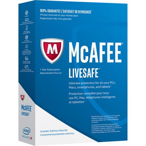 McAfee LiveSafe 2017 (PC/Mac/Android/Chrome/iOS) - 1 an