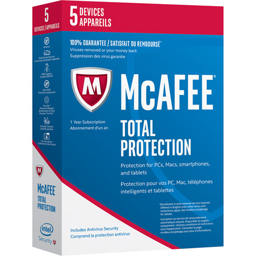 McAfee Total Protection 2017 (PC/ Mac/ Android/ Chrome/ iOS) - 5 Users - 1 Year