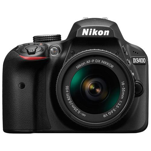 Ens. appareil photo reflex numérique D3400 de Nikon et objectif VR 18-55 mm