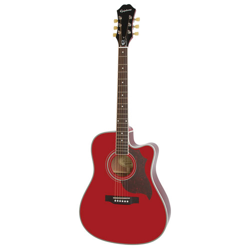 Epihone FT-350SCE Min-ETune Acoustic/Electric Guitar (EEATWRNH1) - Wine Red