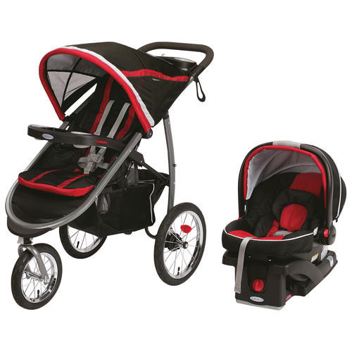 Poussette FastAction Fold Click Connect avec siège d'auto pour bébé SnugRide de Graco - Noir - Rouge