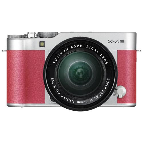 Appareil photo sans miroir X-A3 de Fujifilm avec objectif 16-50 mm - Rose
